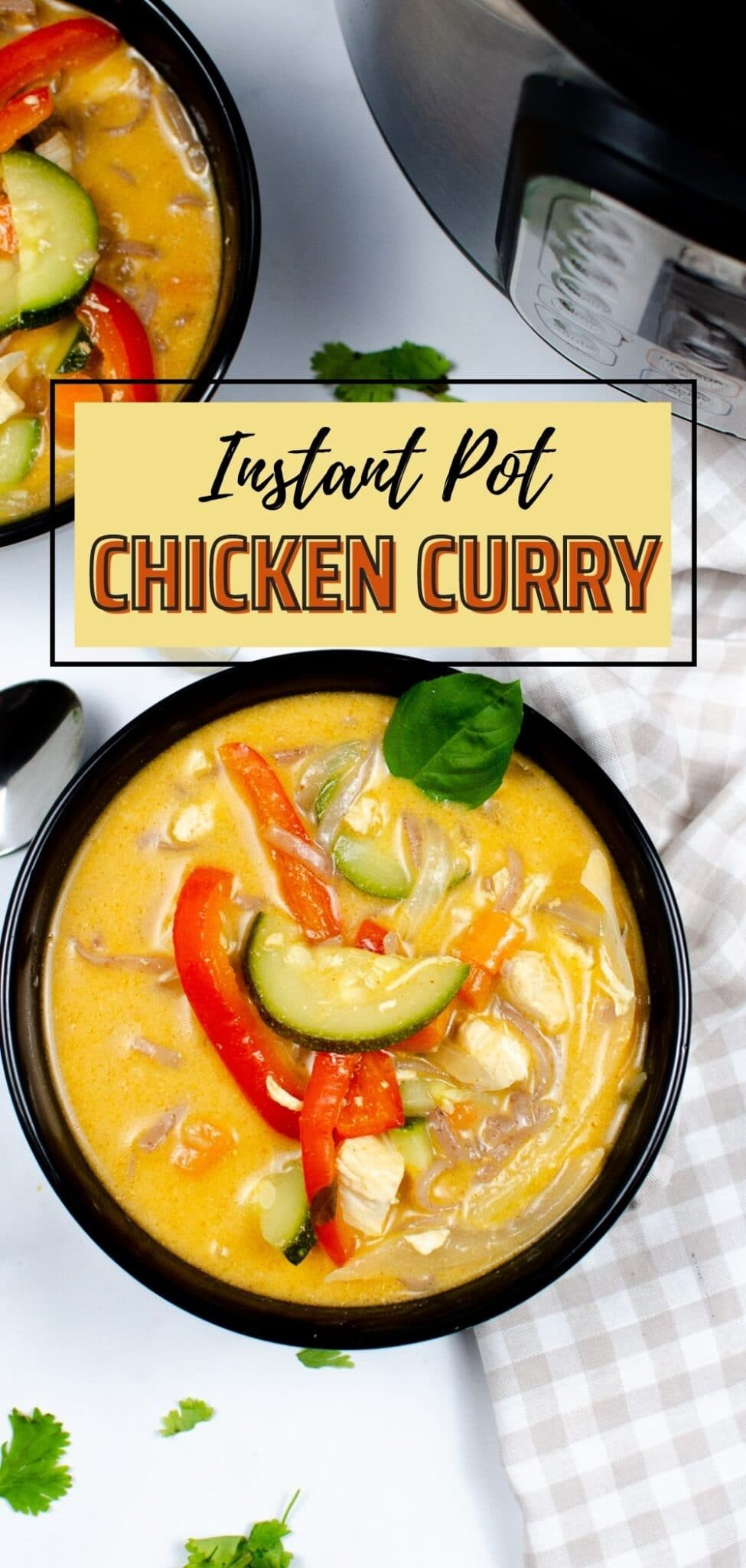 This instant pot Thai chicken curry is rich, flavorful, and fragrant. Just 30 minutes in an instant pot gives you the perfect spicy weeknight dinner! #thaichickencurry #chickencurry #thaifood #chicken #instantpot via @wondermomwannab