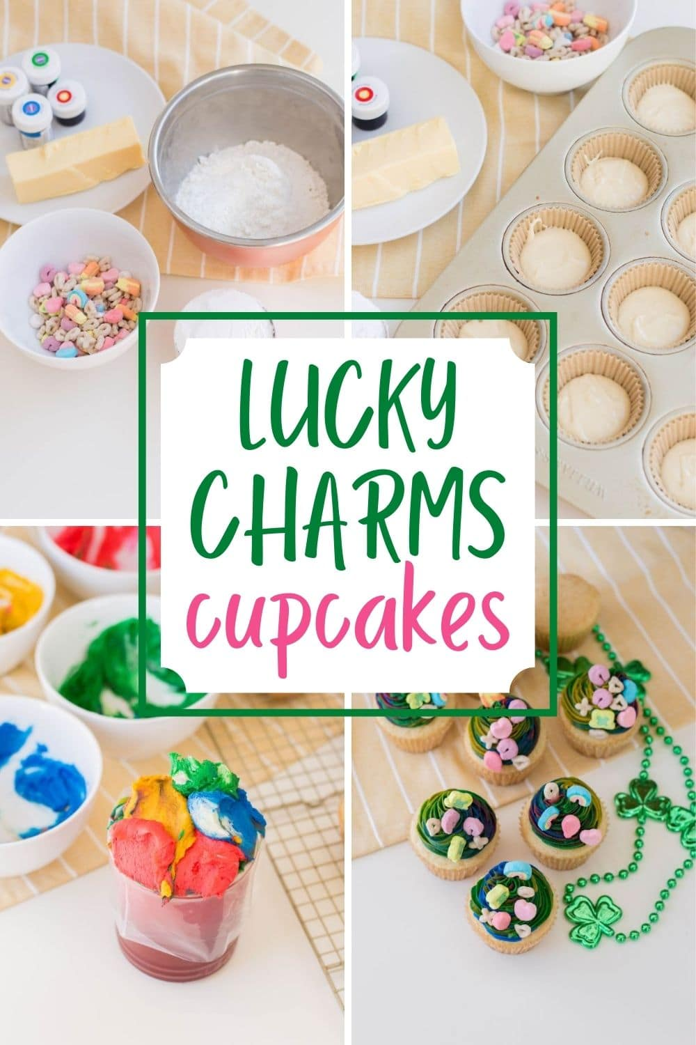 These Lucky Charms Cupcakes are perfect for any occasion and are a fantastic treat to celebrate St. Patrick's Day. They can be made for class parties, family get-togethers or even a birthday party. #stpatricksday #luckycharms #cupcakes #birthday via @wondermomwannab