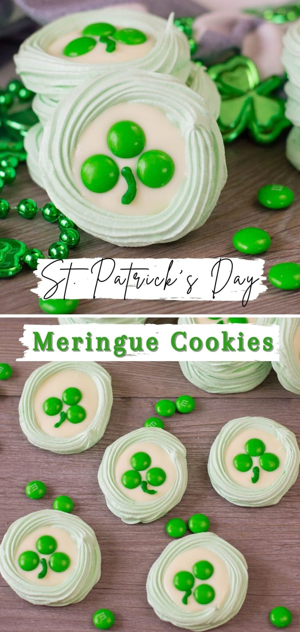 These St. Patrick's Day Meringue Cookies are the perfect, light and airy goodies to help you celebrate this year. #stpatricksday #meringue #cookies via @wondermomwannab