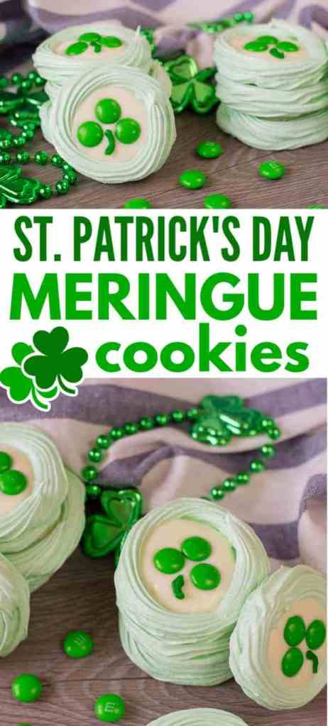 a collage of green meringue cookies topped with melted white candy melts, three green m&ms, and a stripe of green frosting to look like a clover, all on a brown table next to green beads with shamrocks on them and more green m&ms with a white and blue striped cloth in the background with title text reading St. Patrick's Day Meringue Cookies