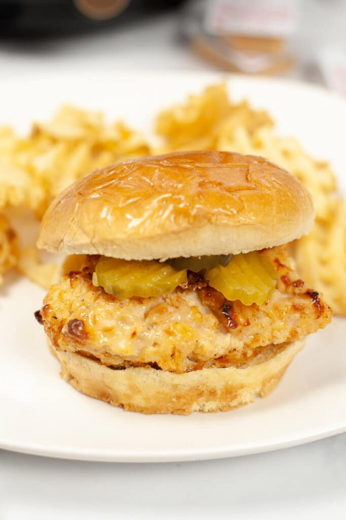 Air Fryer Copycat Chick-Fil-A Sandwich on white plate