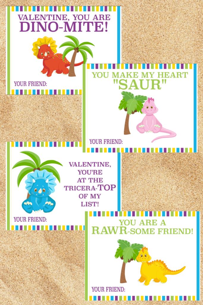 Free Printable Dinosaur Valentine Cards on a sand background