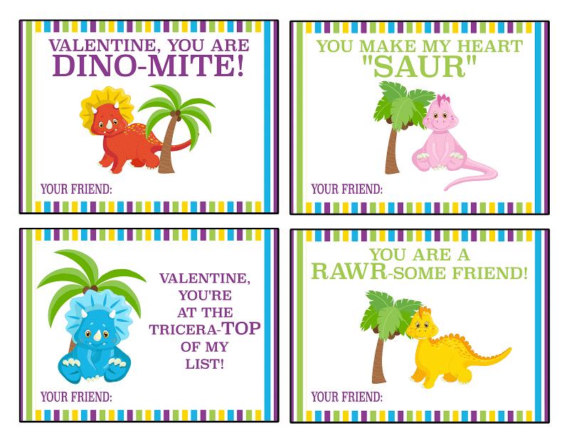 Free Printable Dinosaur Valentine Cards