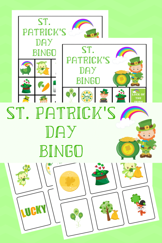 Free Printable St. Patrick's Day Bingo Games on a green background with title text overlay reading St. Patrick's Day Bingo
