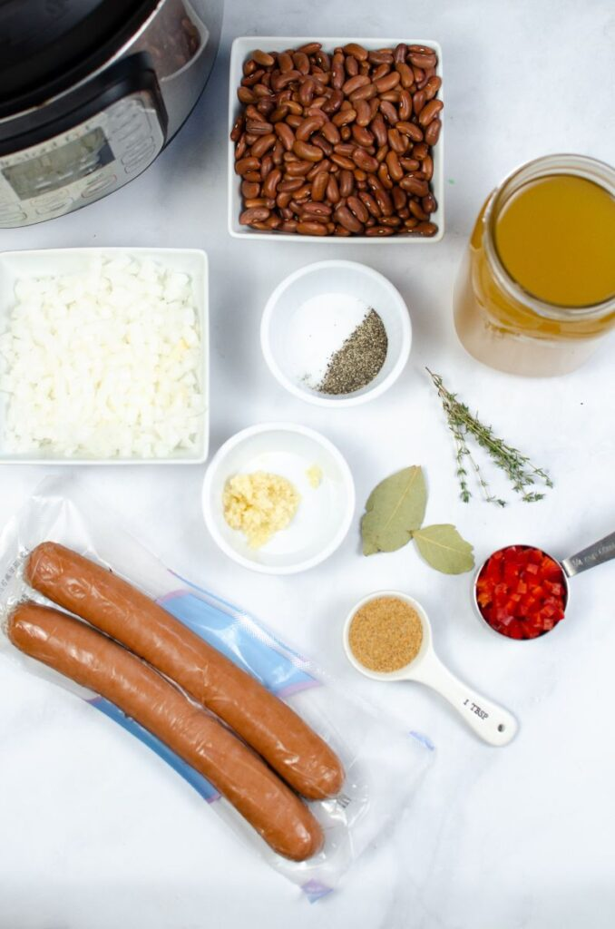 ingredients needed to make Instant Pot Red Beans and Rice