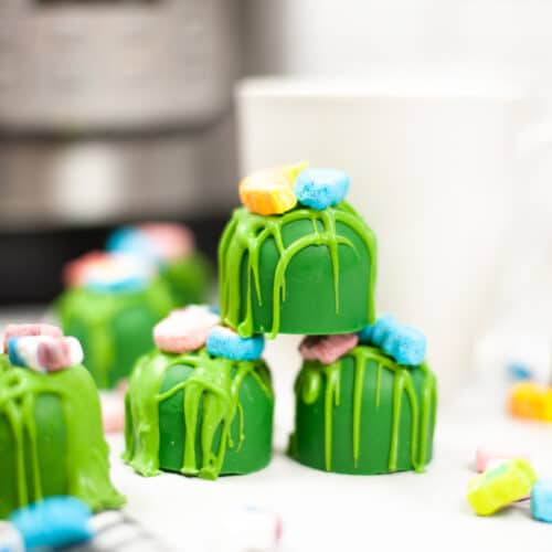 Instant Pot St. Patrick's Day Hot Cocoa Bombs stacked on top of each other