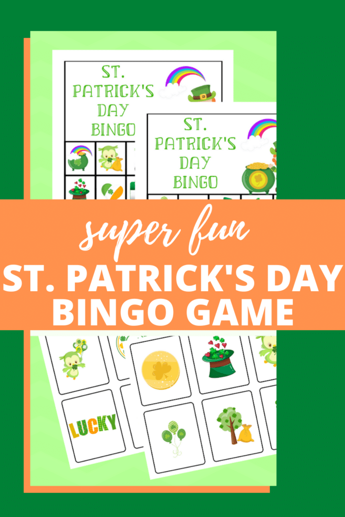 printable St. Patricks Day printable bingo cards on a green background with title text overlay reading super fun St. Patrick's Day Bingo Game