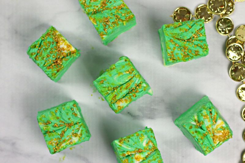 delicious mint fudge on a white counter