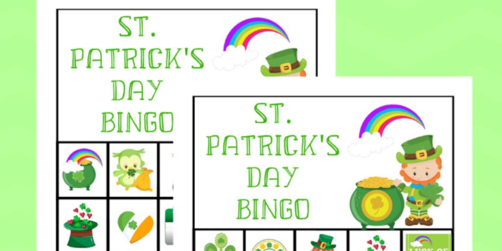 printable st. patricks day bingo game on a green background