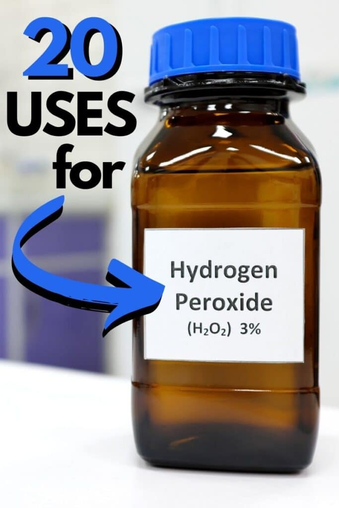 "Bottle of hydrogen peroxide on counter with title text ""20 Uses for Hydrogen Peroxide"""