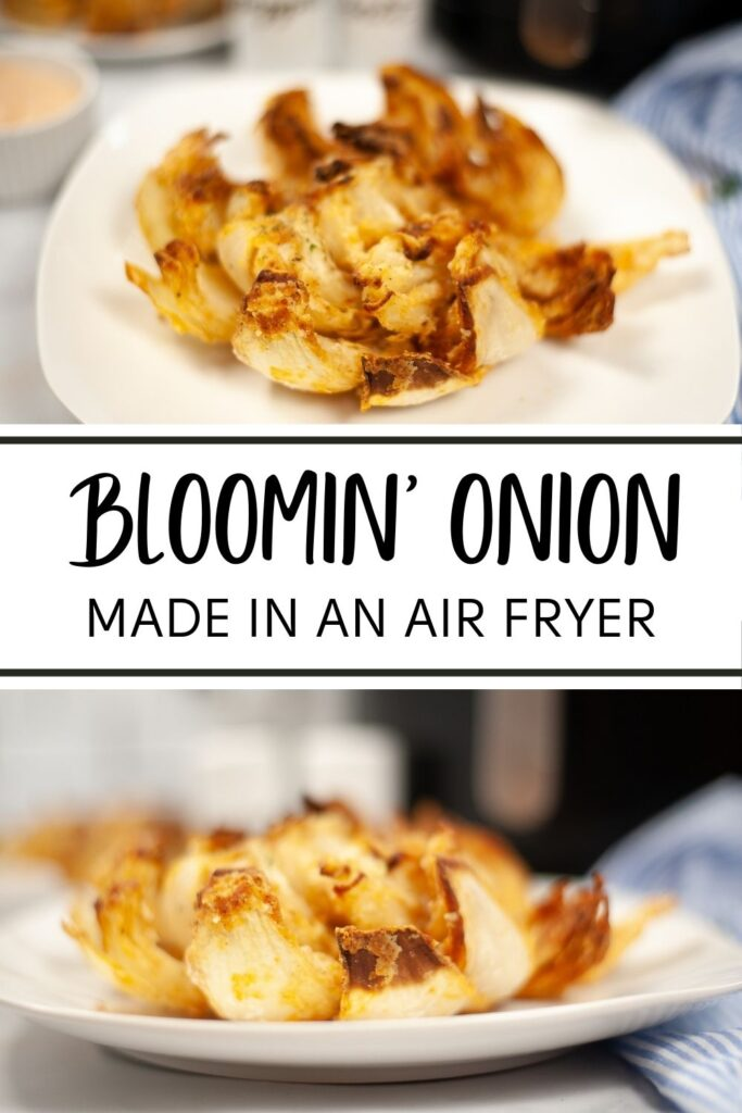 a collage of a bloomin onion on a white plate with some white containers and an air fryer in the background with title text reading Bloomin' Onion Made In An Air Fryer