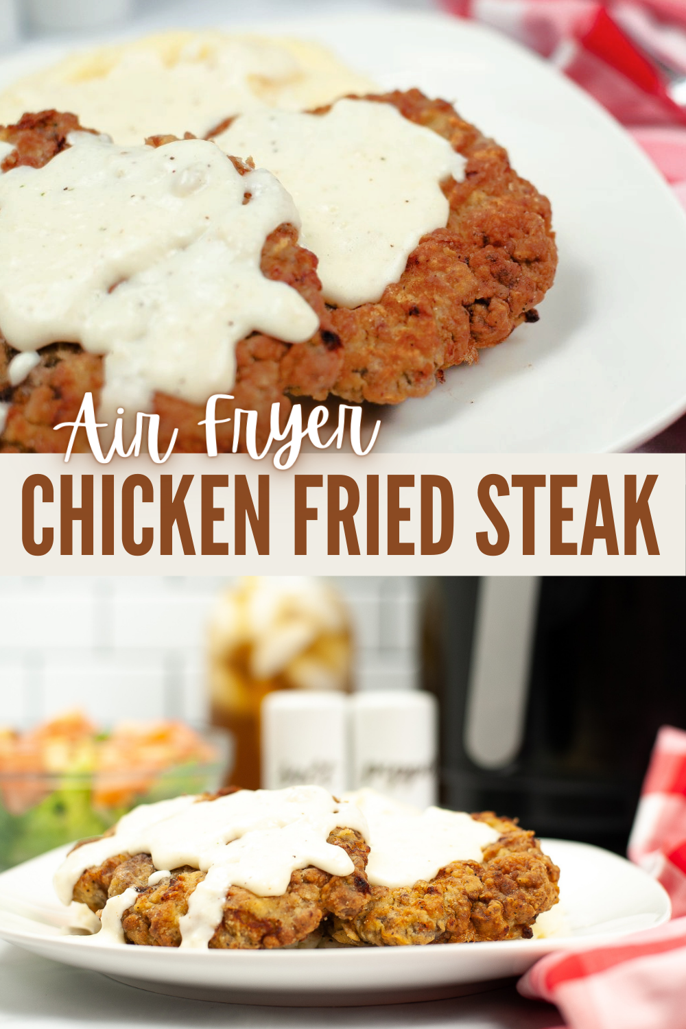 This Air Fryer Chicken Fried Steak with Gravy recipe lets you enjoy all the comfort of the traditional version, with none of the remorse! #chickenfriedsteak #airfryer #chicken #recipe via @wondermomwannab