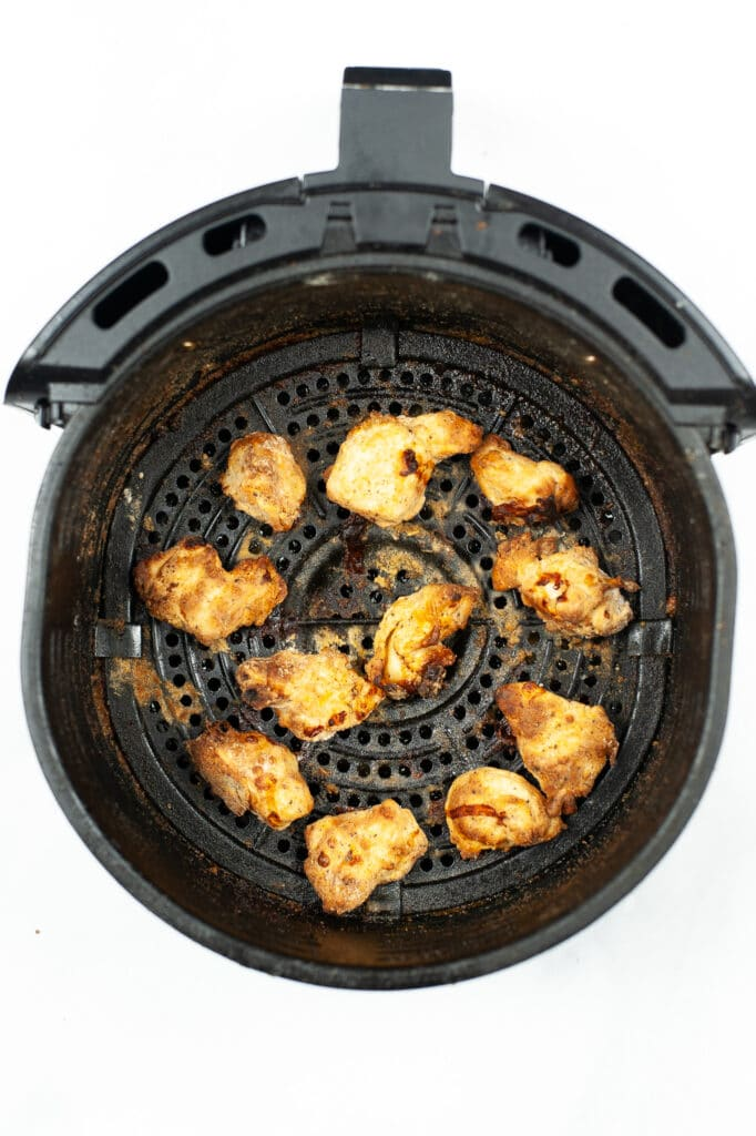cooked chicken nuggets in the air fryer