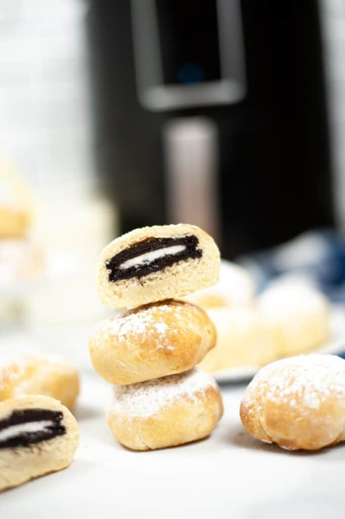 deep fried oreos with an air fryer in the background
