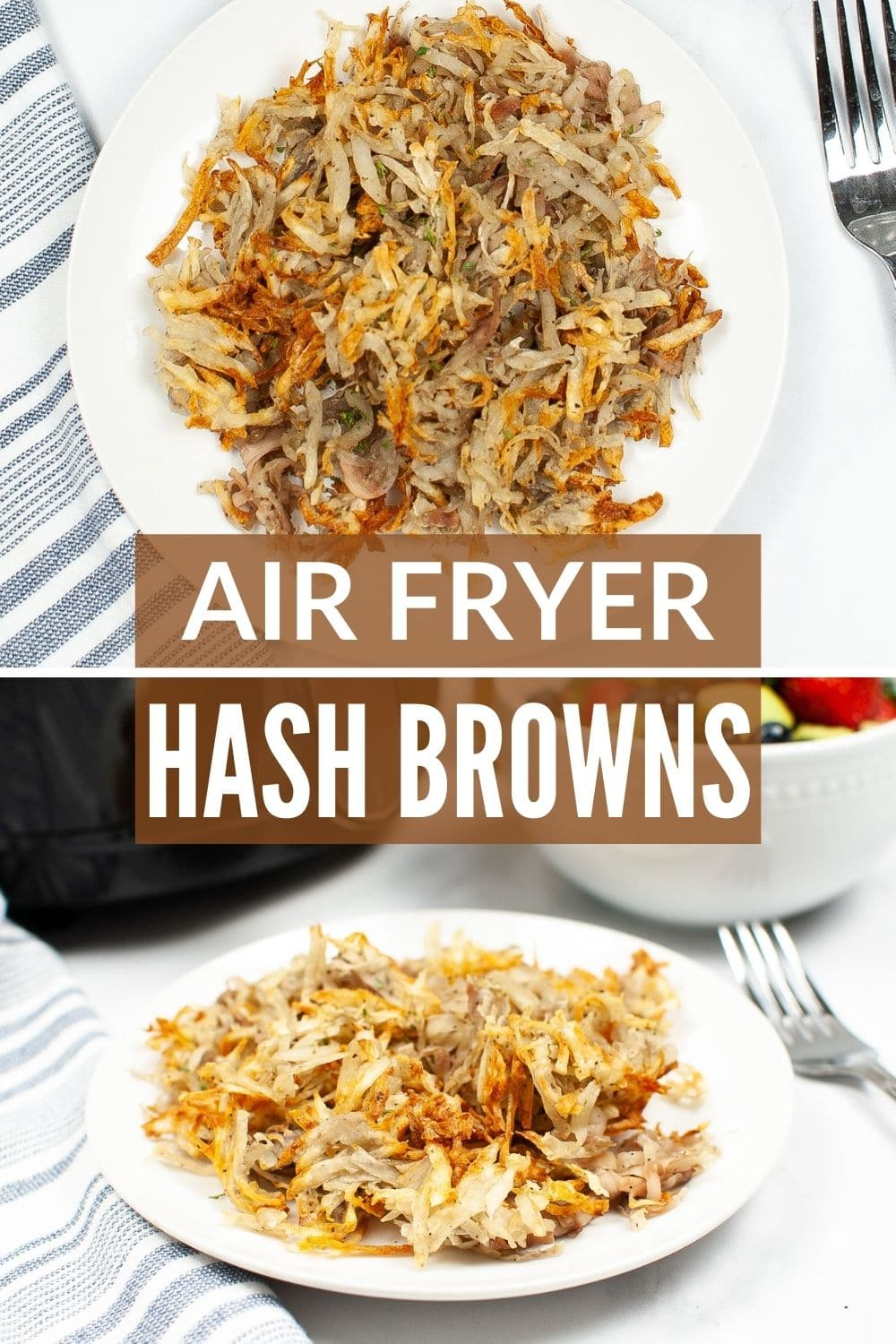 Air Fryer Hash Browns are really easy to make and just as good as the deep fried version -- without all the guilt! #airfryer #potatoes #breakfast #recipe via @wondermomwannab