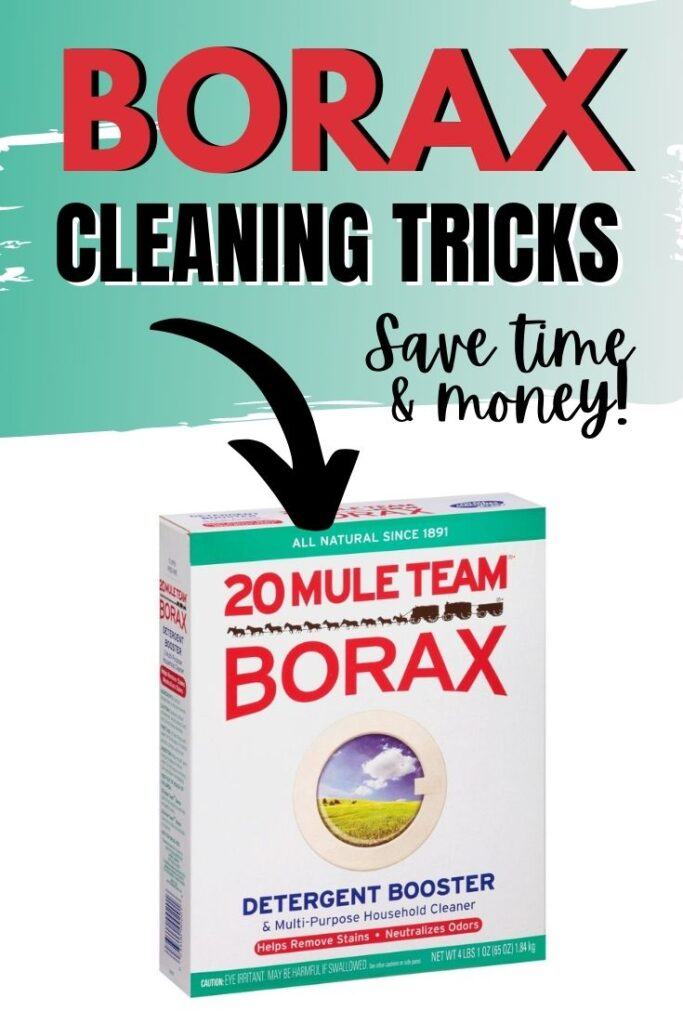 a box of Borax with an arrow pointing to it and title text reading Borax Cleaning Tricks Save time & money