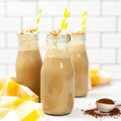 Copycat Starbucks Iced Caramel Macchiato on counter