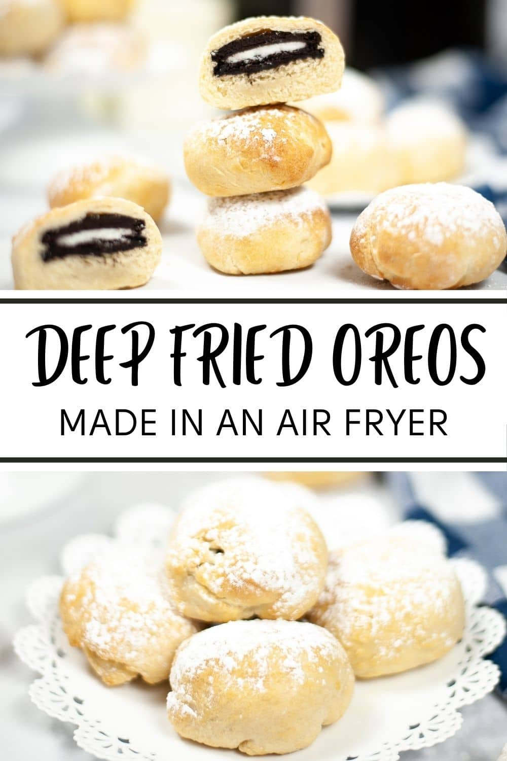 These Air Fryer Deep Fried Oreos let you indulge in delicious fair food with less guilt! #airfryer #oreos #cookies via @wondermomwannab