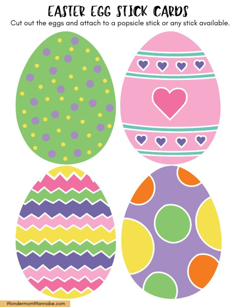 Printable Easter egg stick cards