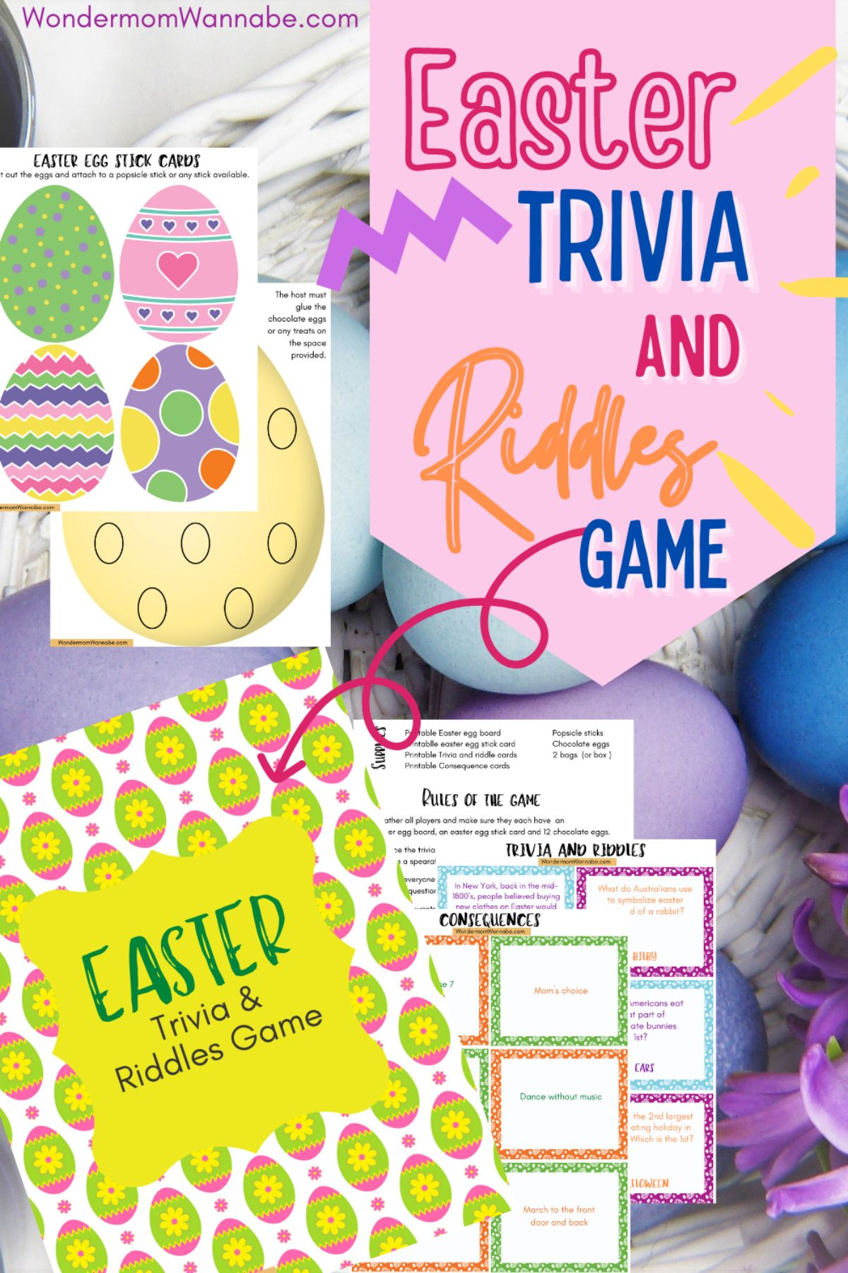 This Easter Trivia Game is a fun activity for everyone in the family -- kids and adults alike! Plus tips for fun variations. #easter #trivia #game #freeprintables via @wondermomwannab