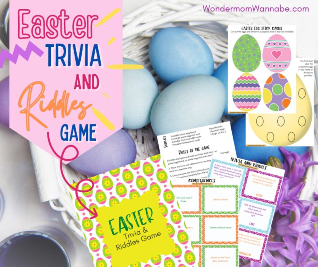 printables for the Easter trivia and riddles game with a basekt full of colored eggs in the background