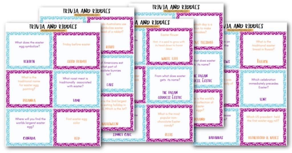 printable trivia cards