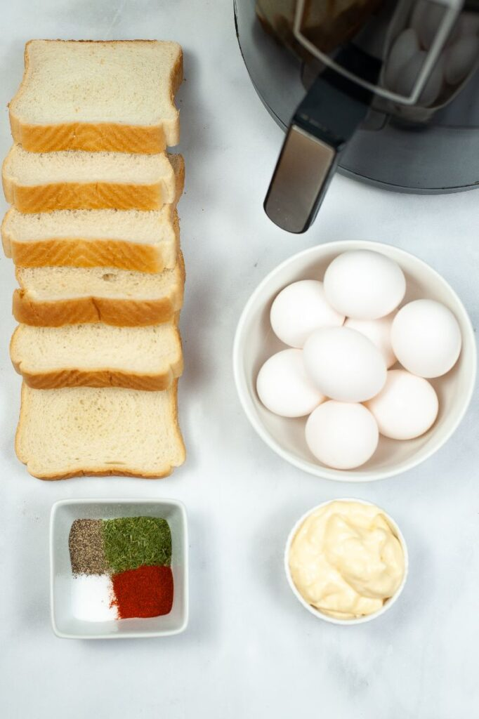 ingredients needed to make an egg salad sandwich