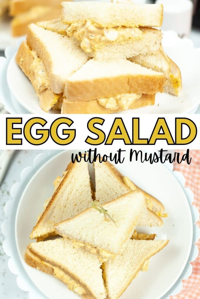 a collage of cut up egg salad sandwich stacked on a white cake stand next to an orange and white checkered cloth with title text reading Egg Salad without mustard