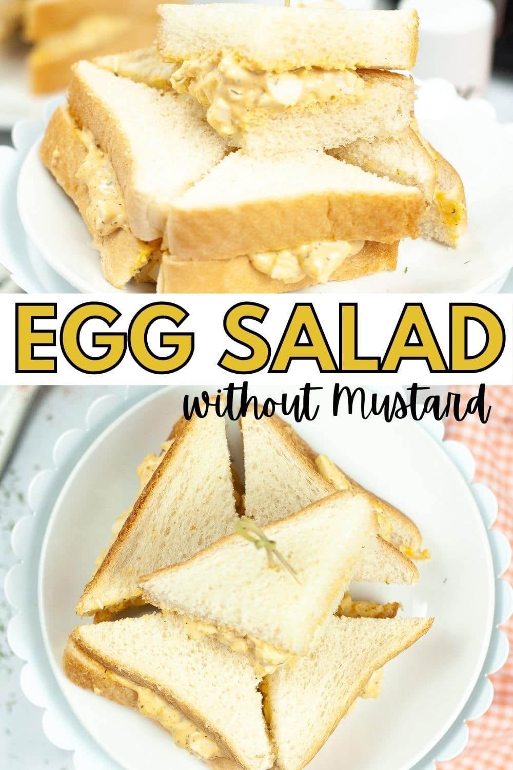 Sandwiches filled with Egg Salad Without Mustard come together quickly with Air Fryer Hard Boiled Eggs. Lots of flavor but not too spicy! #airfryer #eggsalad #lunchrecipe #hardboiledeggs via @wondermomwannab