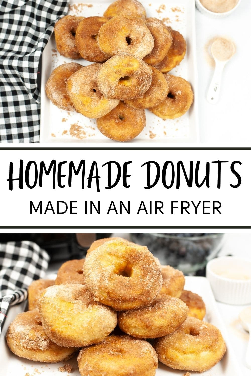 You won't believe how easy it is to make homemade donuts in your air fryer! Just 4 simple ingredients and 15 minutes are all you need. #airfryer #homemadedonuts #recipe via @wondermomwannab