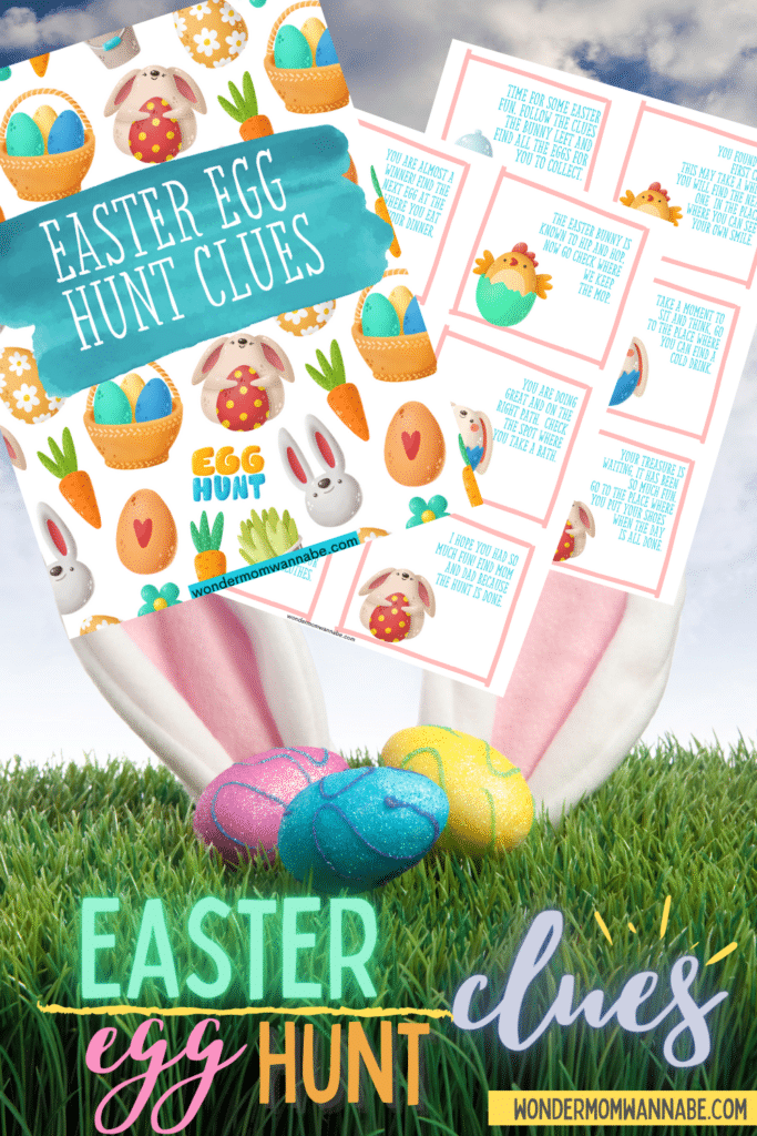 printable Easter Egg Hunt Clues with grass, Easter eggs, bunny ears, and cloudy skies in the background and title text at the bottom reading Easter egg Hunt clues