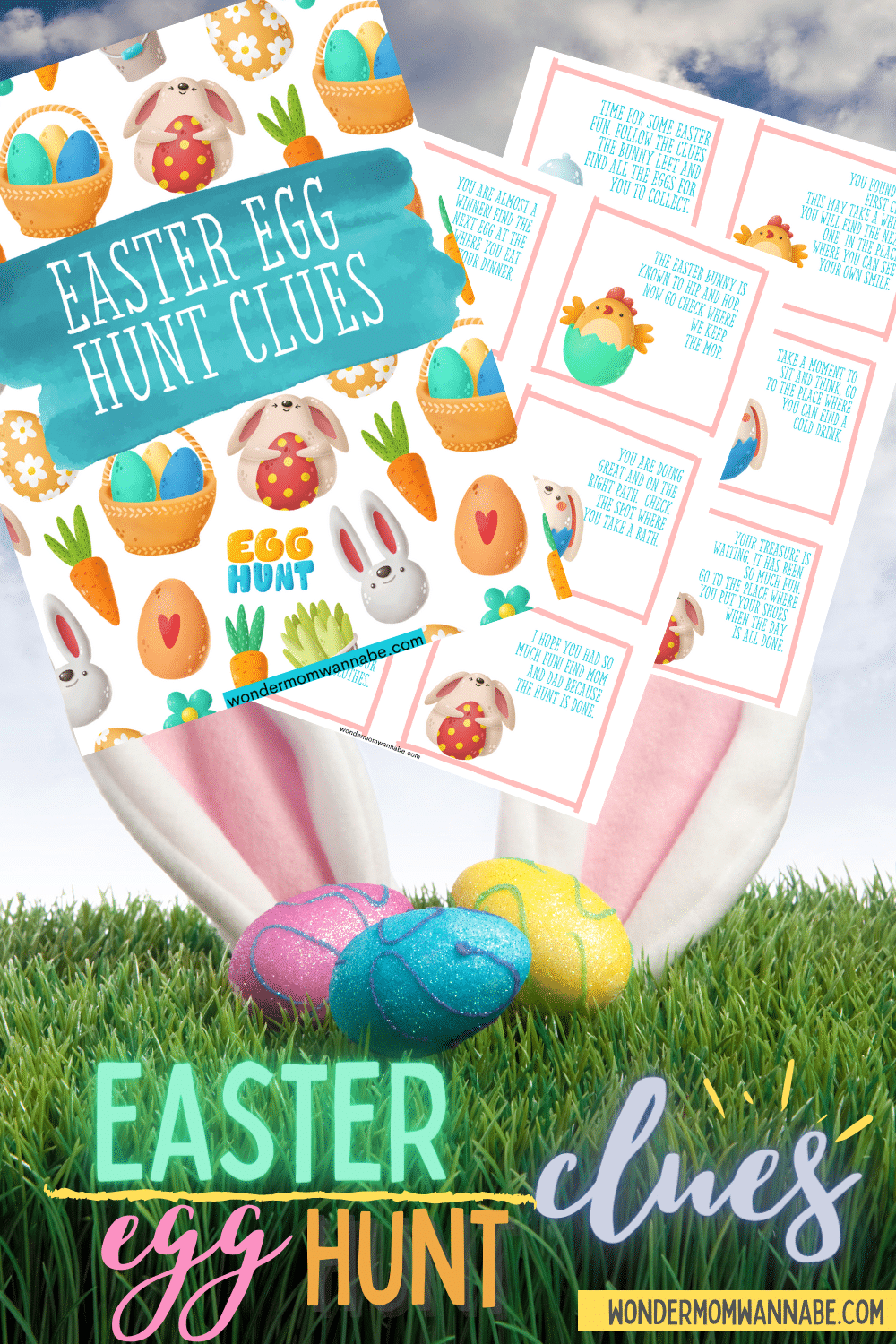 These free printable Indoor Easter Egg Hunt Clues make it easy to set up a fun scavenger hunt for eggs on Easter morning. #easter #easteregghunt #scavengerhunt #indooreasteregghunt via @wondermomwannab