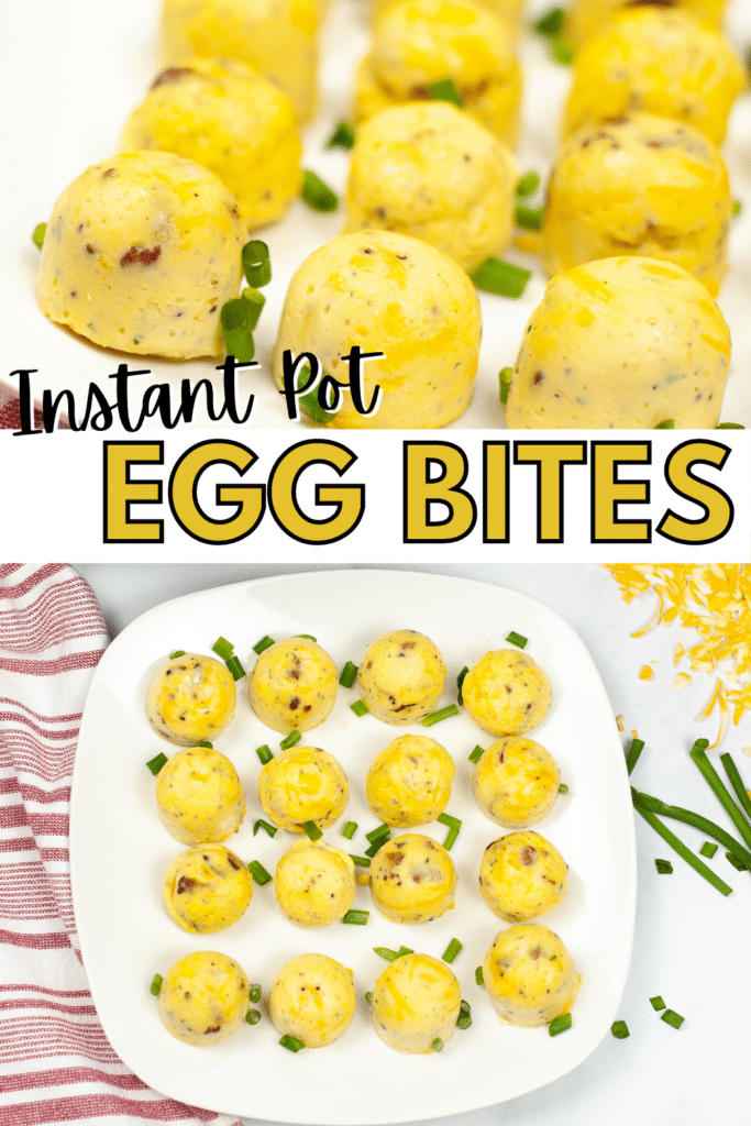 a collage of egg bites on a white plate  with an instant pot, fruit, and glasses of orange juice in the background and a close up of the egg bites with title text in between reading Instant Pot Egg Bites