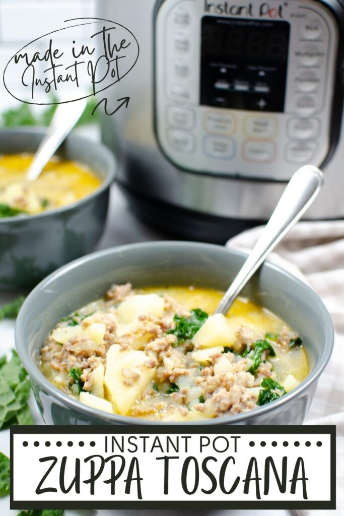 Instant Pot Zuppa Toscana soup in two bowls with spoons in them with an instant pot in the background with title text reading Instant Pot Zuppa Toscana