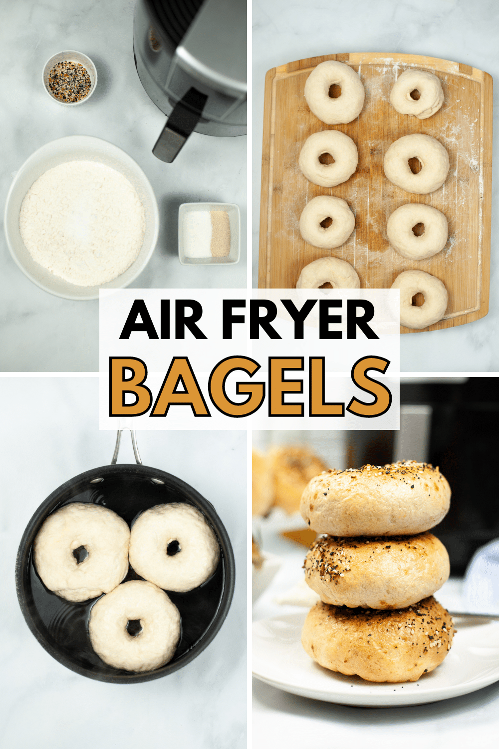 These Air Fryer Bagels are easy to make and come out dense and chewy on the inside with the perfect golden, crispy outside. #airfryer #bagels #breakfast via @wondermomwannab