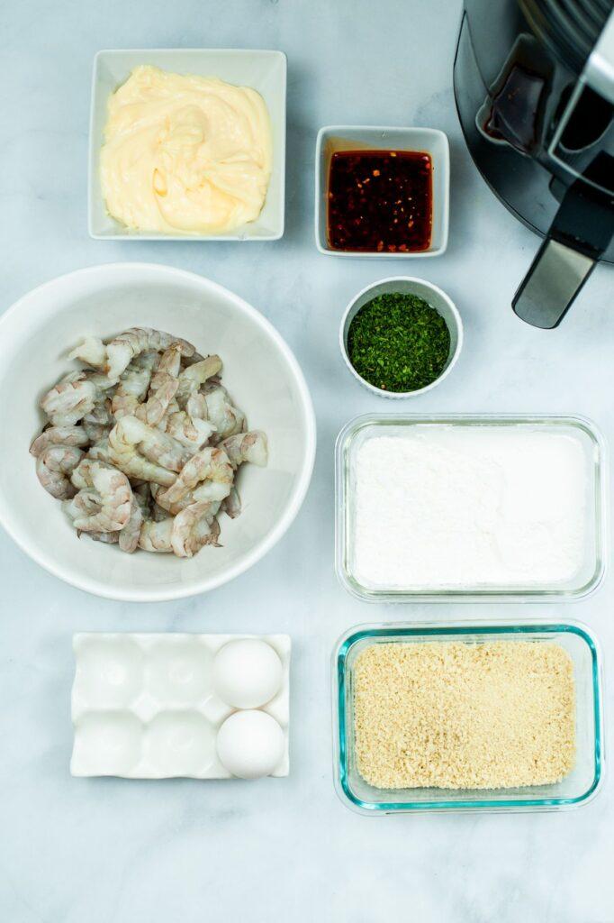 ingredients needed to make air fryer bang bang shrimp
