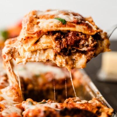 piece of cooked lasagna