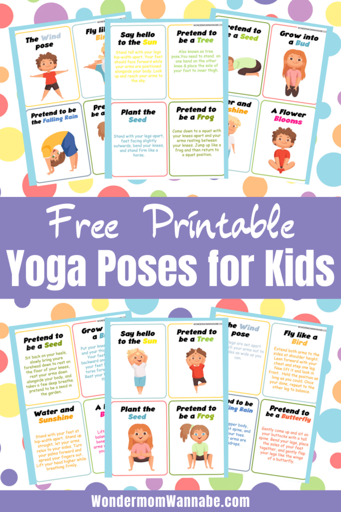 printable yoga cards for kids on a multi-colored polka dot background with title text reading Free Printable Yoga Poses for Kids