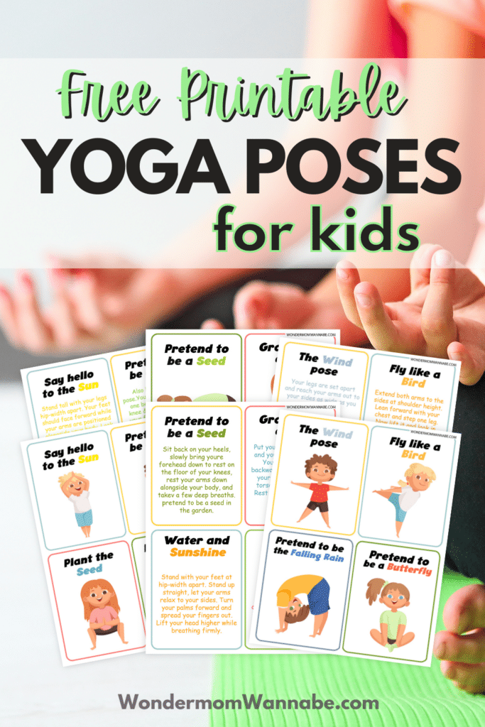 free printable yoga cards for kids with hands in a yoga pose in the background with title text reading Free Printable Yoga Poses for kids