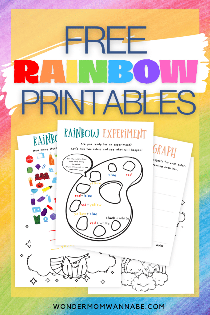 printable rainbow worksheets and coloring pages on a rainbow colored background with title text reading Free Rainbow Printables