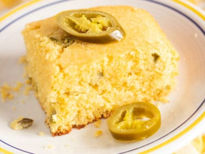 jalapeno cornbread recipe topped with jalapenos