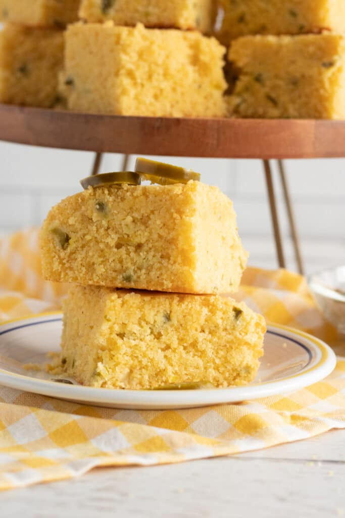 Honey Jalapeno Mexican Cornbread stacked on table