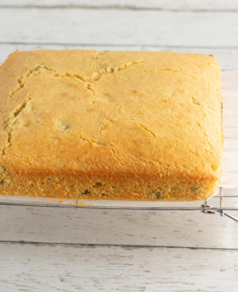 letting cornbread cool on wire rack