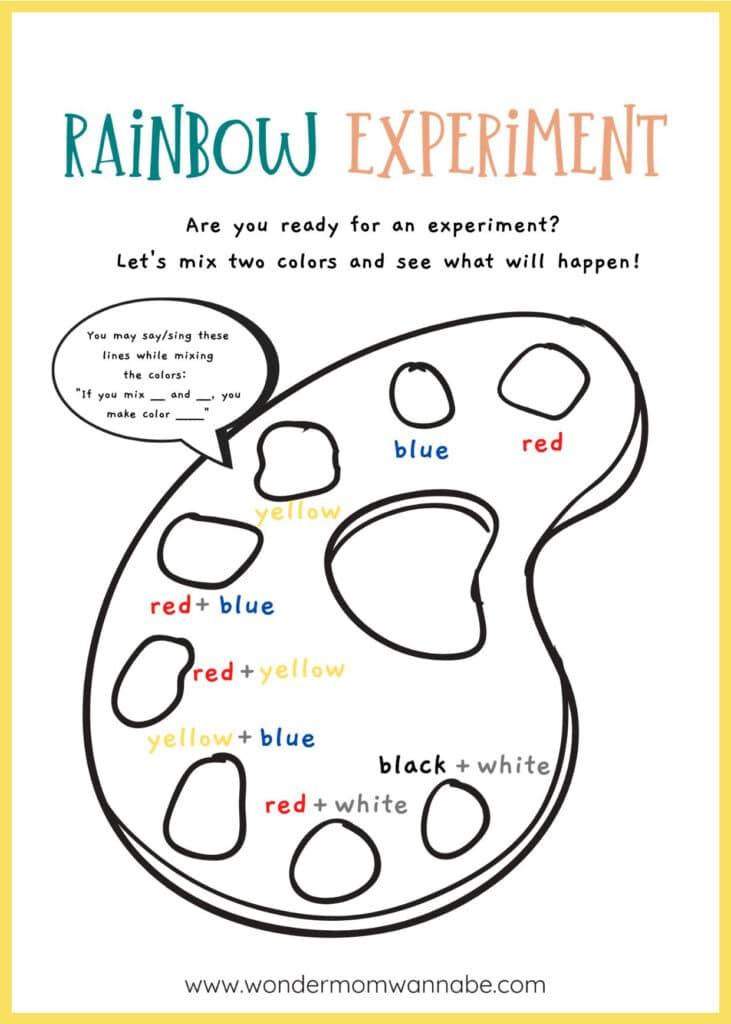 printable rainbow experiment worksheet