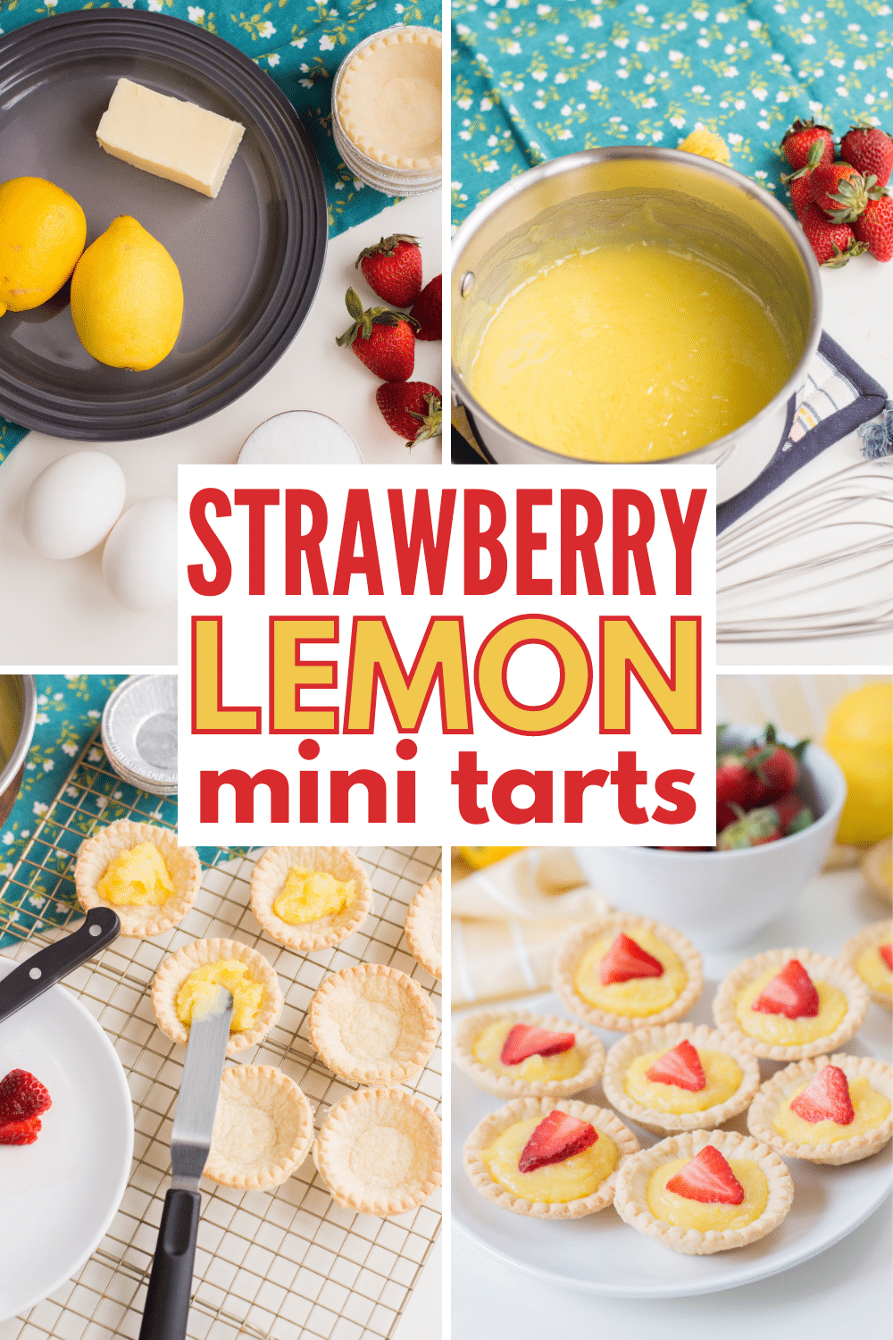 Mini Strawberry Lemon Tarts are an easy spring dessert full of delicious lemon flavor. Using mini pie shells saves time and makes this simple to make. #lemontarts #strawberry #easydesserts via @wondermomwannab