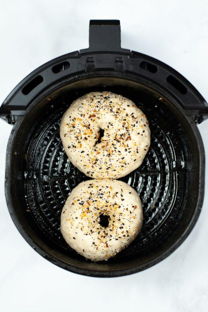 seasoned bagels in an air fryer