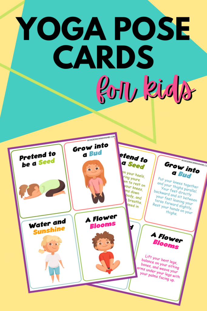 free printable yoga cards for kids with title text reading Yoga Pose Cards for kids