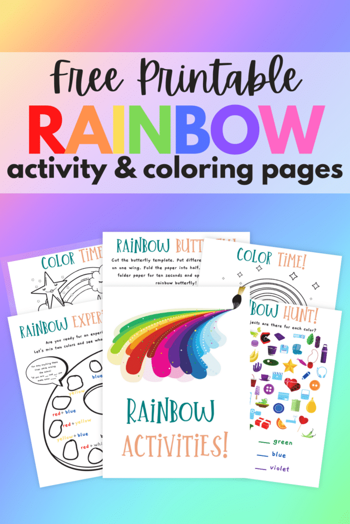 printable rainbow worksheets and coloring pages on a rainbow colored background with title text reading Free Printable Rainbow activity & coloring pages