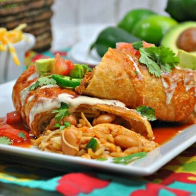 Easy Instant Pot Chicken Chimichanga Recipe on white plate