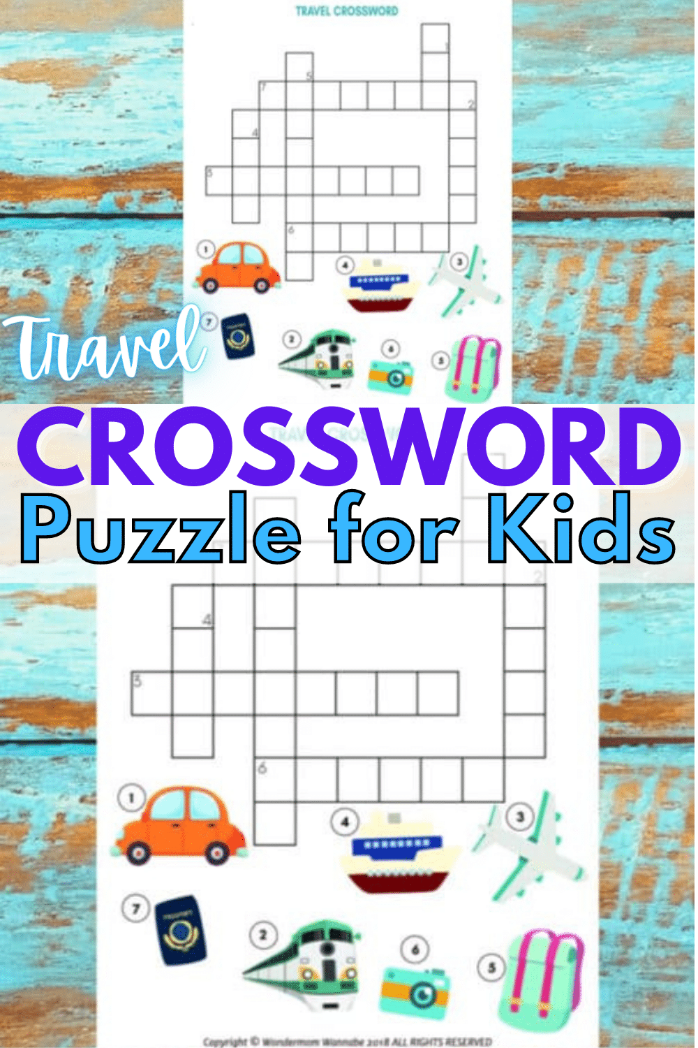 A fun printable travel crossword puzzle for kids is the perfect children's activity to complete on a family road trip or before a big vacation. #crosswordpuzzle #printables #familytravel via @wondermomwannab
